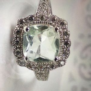 Jewelry - Solid .925 Green Amethyst & White Topaz Halo Ring